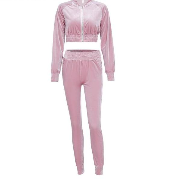 Velvet Track Suit - Velvet Crop Top Track Suit Set Pink / Blush