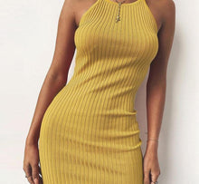 Knitting Dress for Women - halter beach mini dress - 0611 Yellow or Black