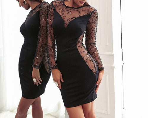 Sheer mesh women dress -  black pearl embroidery bodycon dress for Evening - 0611