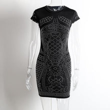 Elegant short sleeve o neck rhinestone women dress - black party bodycon dress - 0611 Black or White