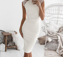 Elegant white lace halter dress for Women - bow sash patchwork party dress - 0611