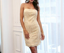 Embroidery mesh dress for women - Gold / Champagne - sleeveless backless vintage dress - 0611