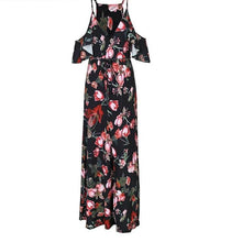 Floral print summer dress -  Women ruffles off the shoulder maxi dress - Floral Day Dress