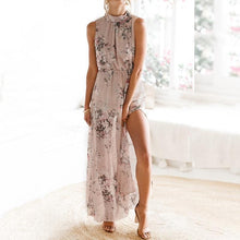 Floral summer dress - women high waist slit - long maxi dress Flower print - 0611