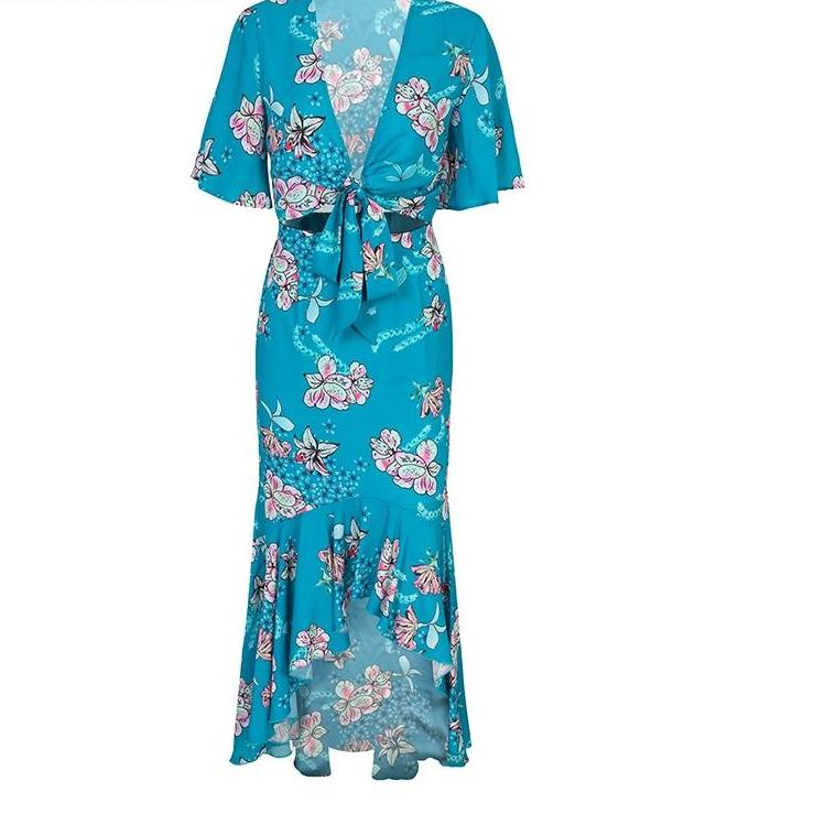 Aqua Blue 2 Piece Floral Set - Sexy 2 Piece Set Woman's Apparel - Crop Top Tie Up Front 2 Piece Skirt Set - Blue