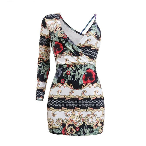 Flower print sundress women dress - One shoulder bohemian beach dress - 0611