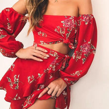 Floral Ruffles Mini Skirt and Top - Off the Shoulder Floral Top - Off the Shoulder Floral 2 Piece Skirt and Top - 2 Piece Floral Mini Skirt