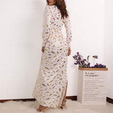 Feather Shimmer Gold White Day Maxi Dress - Beautiful and Elegant White Maxi Dress - Foiled Gold Details on Dress
