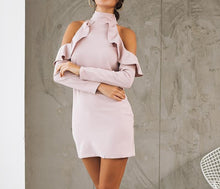 Halter shoulder dress - Women ruffle bodycon dress - Long sleeve elegant turtleneck - 0611