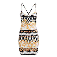 Halter floral plaid print bandage summer dress for Women  -lace up bodycon dress - 0611