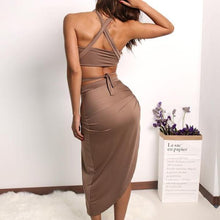 Halter two piece split women dress - Brown, Black, Olive - A Best Seller