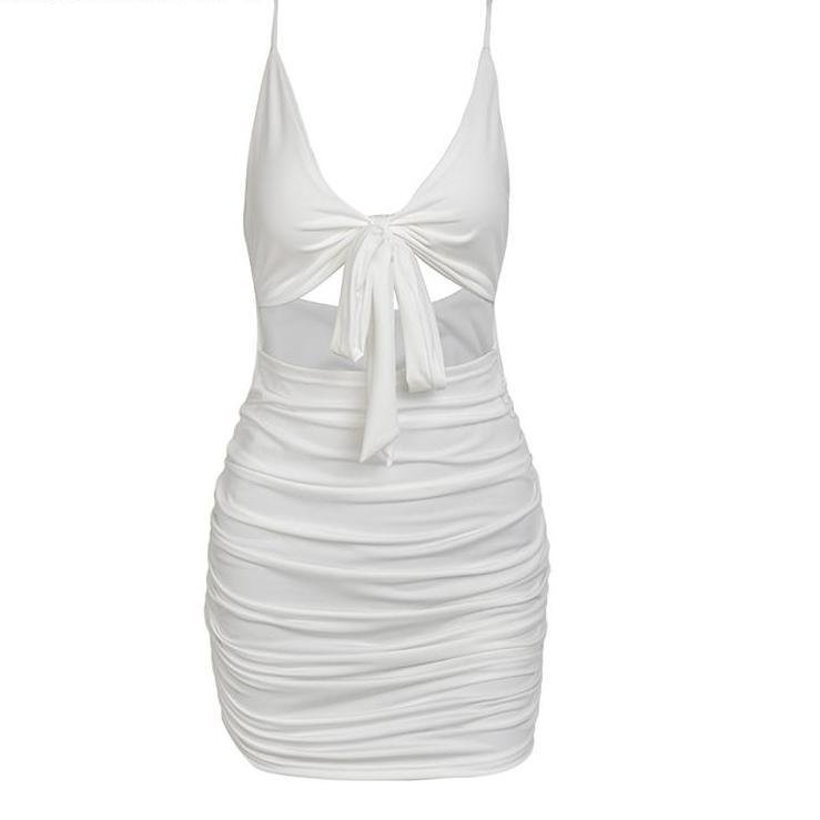Tie Up Front One Piece Mini Dress White