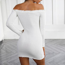 Bella Knitted Off the Shoulder Party Dress - Nude/Beige or White Ribbed - Off the Shoulder Mini Dress