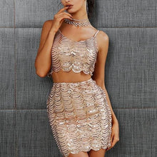 Sexy Sequined two-piece Women Skirt and Top Set
