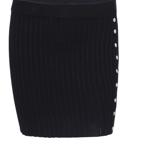 Sexy Knitted Ribbed Mini Skirt with Button Up Slit - Maroon/Purple, Black or Gray/Silver - Small or Med Only
