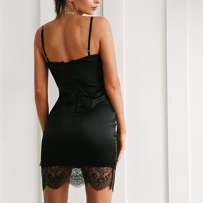 056ce0abea8f Sexy Black Satin Mini Dress with Lace Details - Satin Mini Dress - Little Black  Dress ...