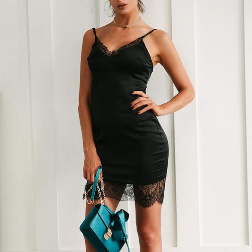 Sexy Black Satin Mini Dress with Lace Details - Satin Mini Dress - Little Black Dress