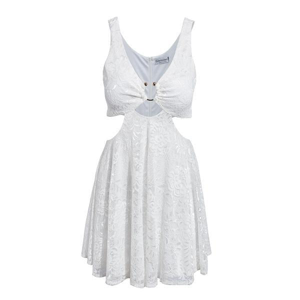White Lace Dress For Women Hollow Out Beach Dress 0611 White