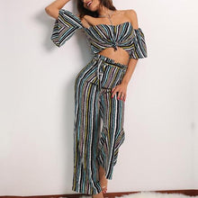 Striped Off the Shoulder Two Piece Loose Pant Set
