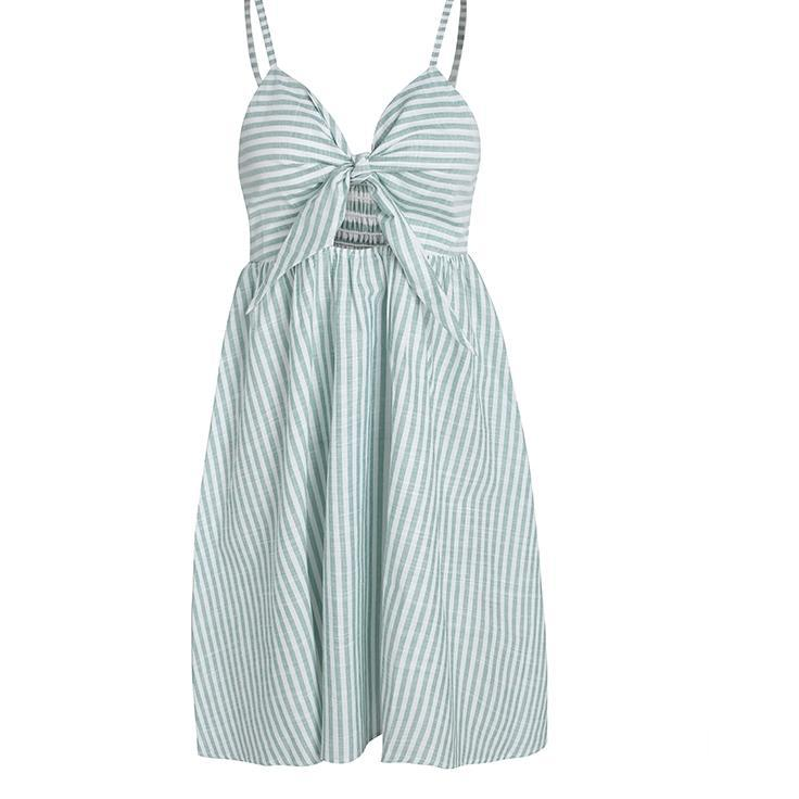 Beautiful Cotton Striped Tie Up Sweetheart dress - Cotton Dress - Cotton Striped Mini Dress - Spaghetti Strap Cotton Striped Dress