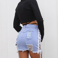 Washed denim lace up women skirt - Mini Denim Washed Mini Skirt - Great for a coverup!