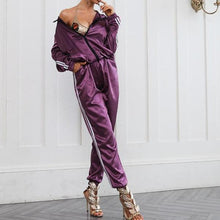 2 Piece Satin Womens Track Suit - Black, Purple or Green with White Track Stripes