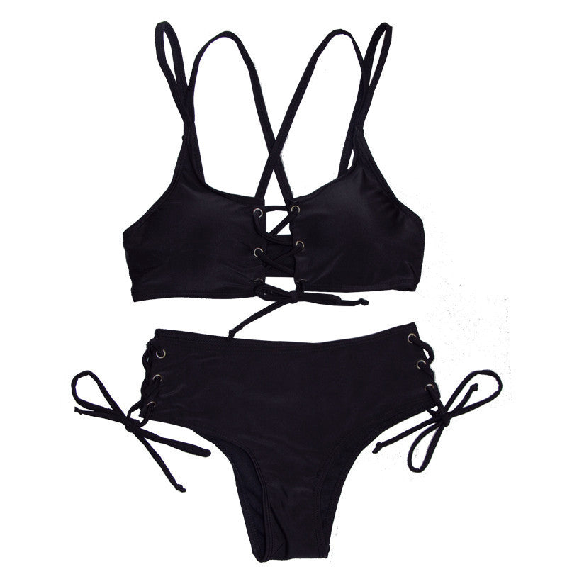 Tied Sides and Top Swim Set - Black - High Waisted