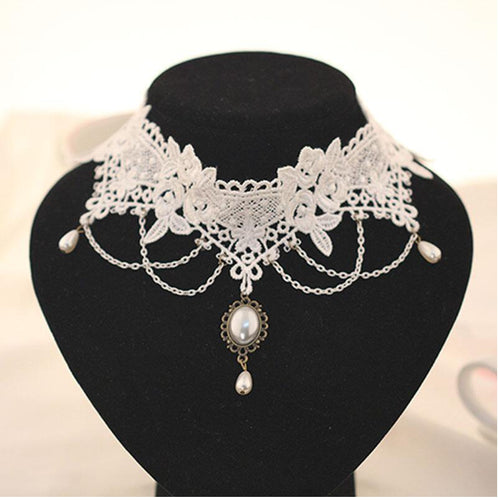 2019 Imitation Pearl White Black Lace Choker Necklaces Bridal Jewelry