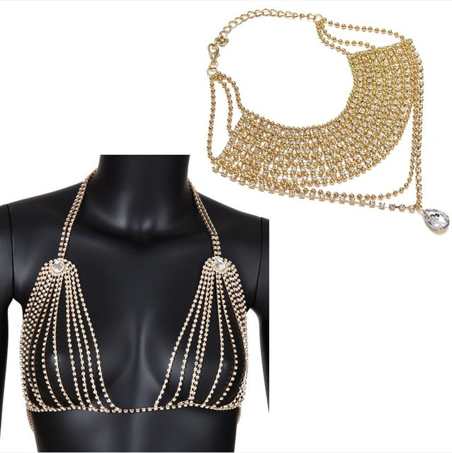 Bra Body Chain with Necklace - Jewelry Set - Gold Color Set