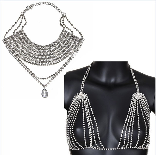 Bra Body Chain with Necklace - Jewelry Set - Silver Color Set