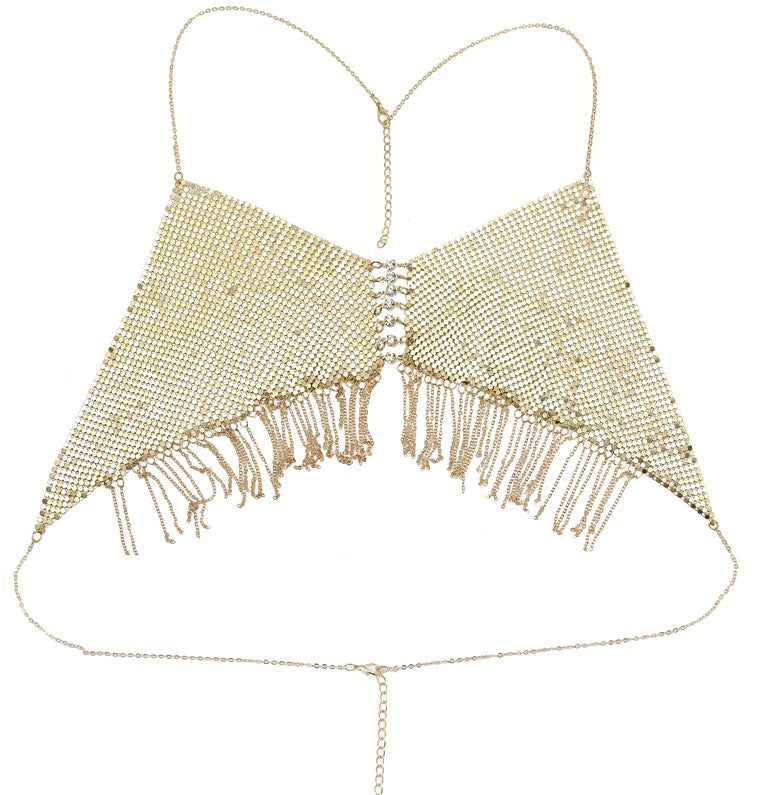 Bra Tassels Body Chain Gold color