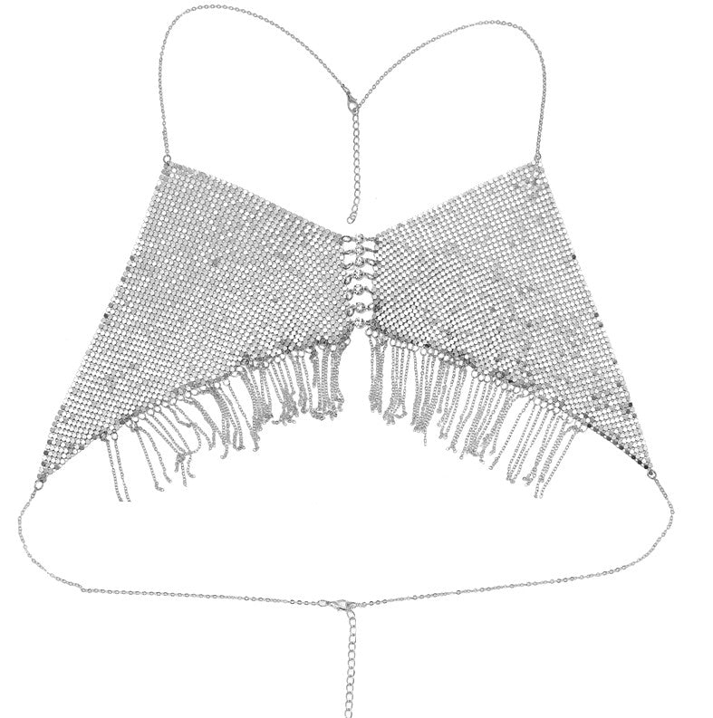 Bra Tassels Body Chain Silver color