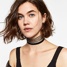 Netted Crystal Choker Set - 2 piece choker set - Choose your color option - netted crystal choker