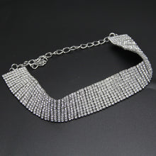Must Have Crystal Choker - Soft Material w/ clear crystals - Silver Crystal Choker