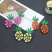 Pineapple Crystal Hanging Stud Earrings - Lime, Pink or Orange Color Options