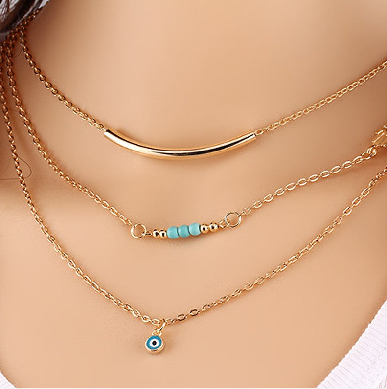 Eye Gold Layered Necklace - Evil Eye Pendant Necklace - Gold Layered Necklace Chains