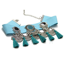 Too Pretty For You - Wide Leather Choker - Turquoise Blue Choker with tassels - Black or Blue