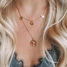 HMS 2019 New Simple Gold Coin Multi Layered Map Choker Necklace