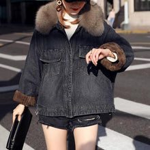 Hot Miami Shades Large Size Black Denim Jacket with Real Fox Fur