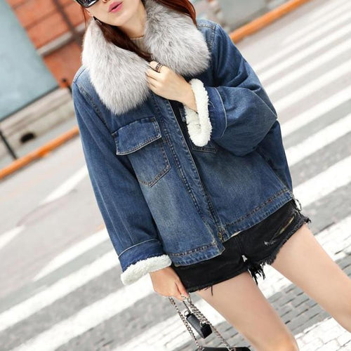Hot Miami Shades Large Size Denim Jacket with Real Fox Fur