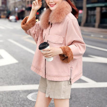 Hot Miami Shades Large Size Pink Denim Jacket with Real Fox Fur