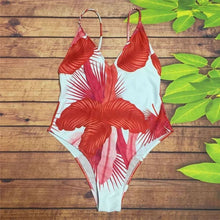 Aqua and Coral Palms One Piece Swimwear