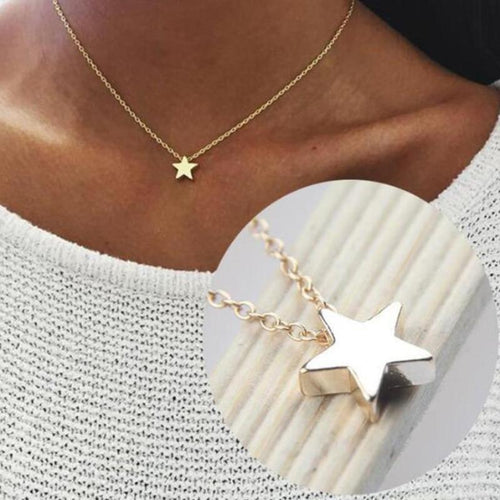 HMS 2019 New Women Chocker Gold Silver Color Chain Star Necklace