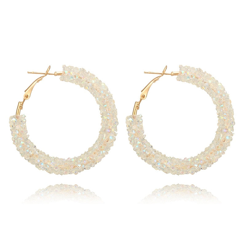 HMS New Design Fashion Charm Austrian Crystal Hoop Earrings