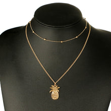HMS 2019 Multi Layer Pineapple Necklace Set Simple Gold Bead Double Chain Necklace
