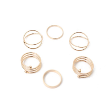 Gold Modern Spiral Ring Set - 6 Pieces - Best Seller