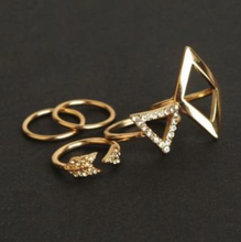 Ring Set - Gold Geometric - 5 Pieces -