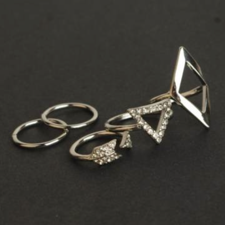 Ring Set Geometric Silver - 5 Pieces