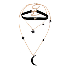 Choker Set - Black Star Layered - 2 Pieces - Delicate