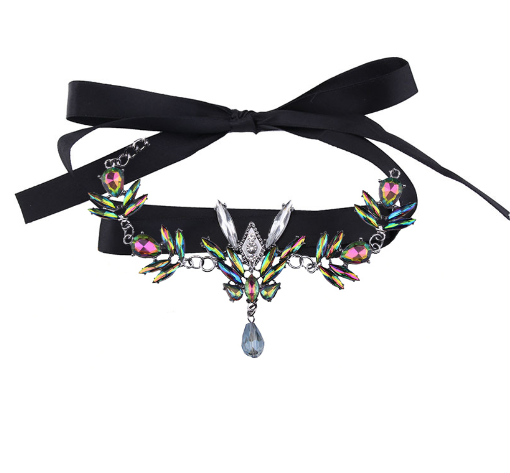 Colorful Choker with Black Wrap